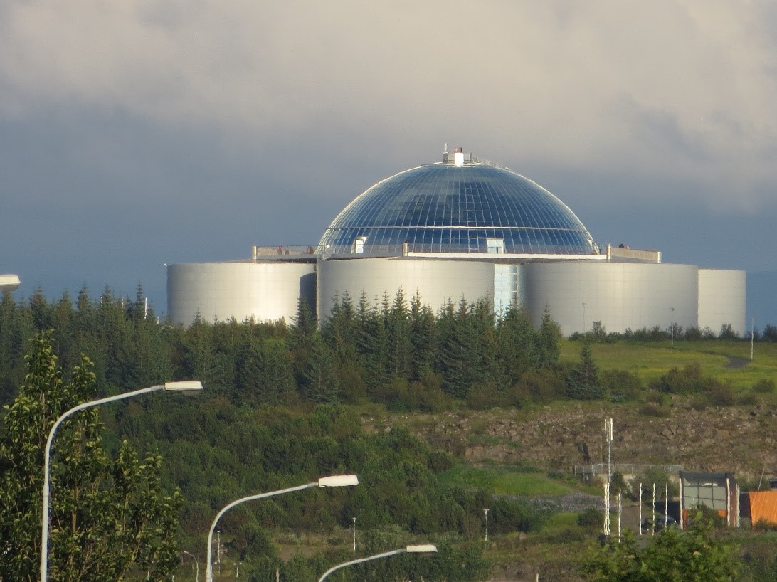This impressive storage of geothermal hot water supplies the hot water for the entire capital, Reykjavik. The geothermal hot water is delivered to the communities over distances as large as 50 miles with temperature losses smaller than 2oC (3.5oF) over this distance.