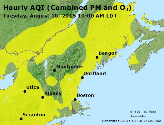 US EPA AQI of Region 1 from August 18, 2015