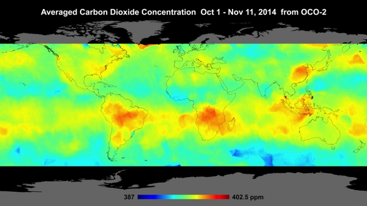Averaged Carbon Dioxide Concentration Oct 1-Nov 11, 2014 from OCO-2