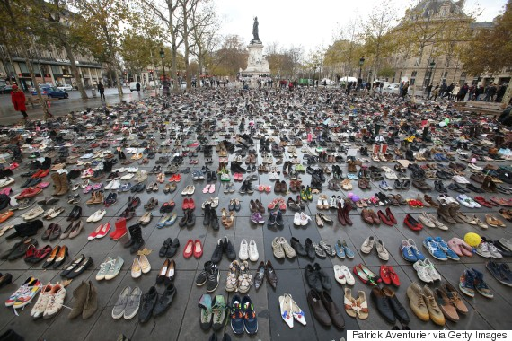 PARIS, FRANCE - NOVEMBER 29:  The place de la Republique is covered with shoes as part of symbolic rally organized by the NGO Avaaz during the forbidden COP21 demonstration on November 29, 2015 in Paris, France. The demonstration was banned after the Paris terror attacks on Friday, November 13th. Nevertheless, thousands of people gathered to protest against global warming ahead of COP21conference and an estimated 200 people were arrested after fighting with police.  (Photo by Patrick Aventurier/Getty Images)
