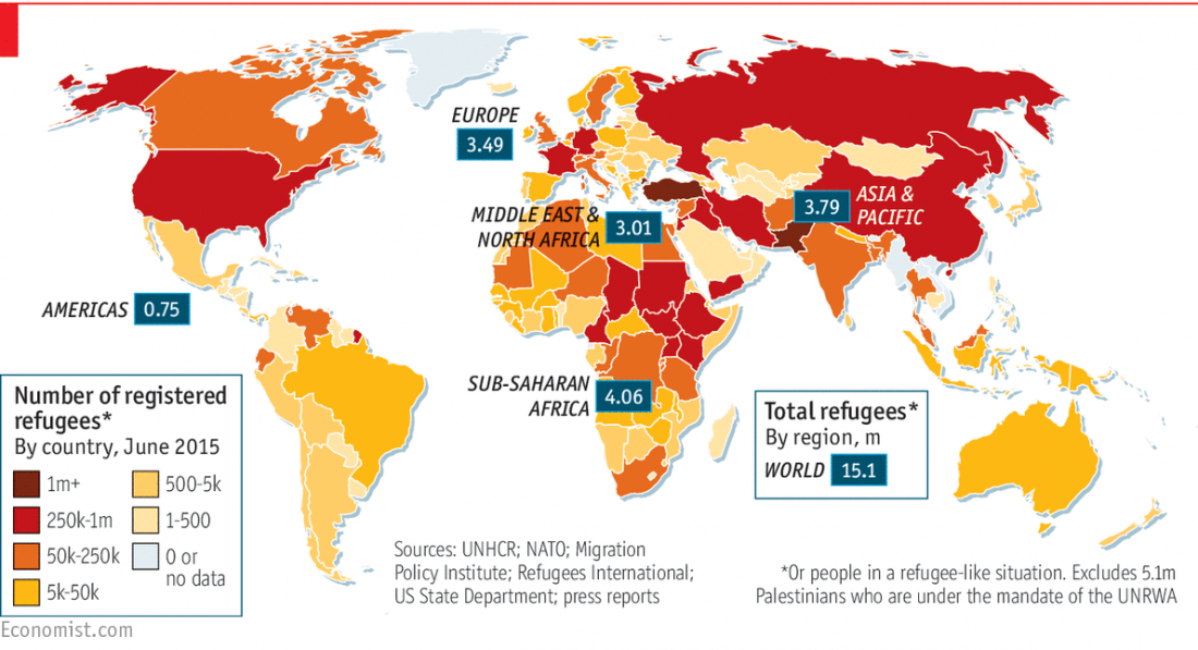 refugee, registered refugee, global, distribution, map