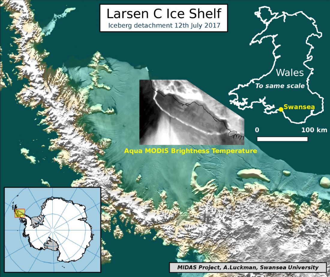 Antarctic iceberg detachment map