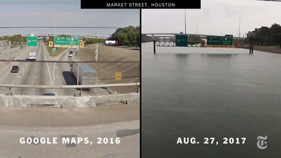 Houston Market Street before and during Harvey