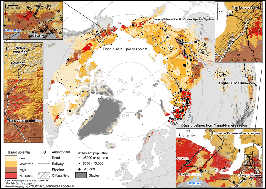 map of Arctic circle and degrading Arctic permafrost