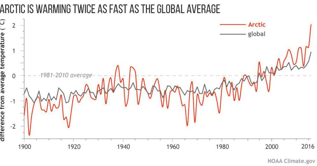 Graph of Arctic warming vs global average