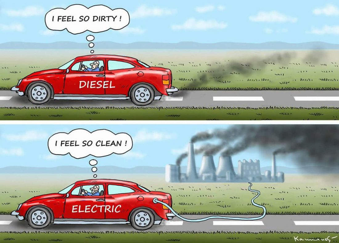 diesel, electric, electric car, dirty, clean, comic, energy