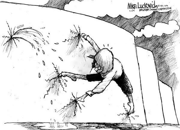 dike, finger, cartoon, dam, Mike Luckovich