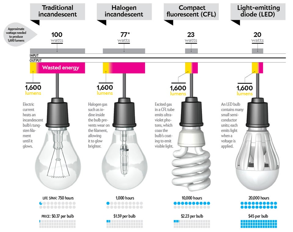 light bulb, cfl, LED, halogen, incandescent, fluorescent, watts, wattage, energy, wasted energy, lumens, voltage,