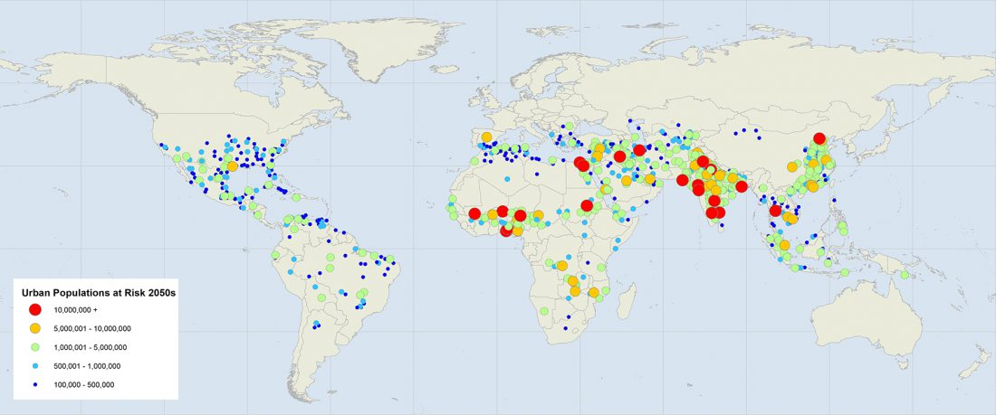 Urban populations, risk, extreme heat 2050s, heat wave, future