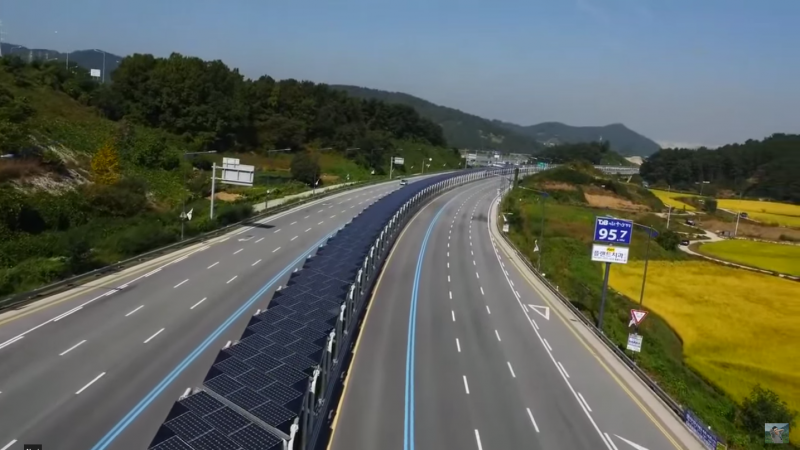solar road, bike lane, Korea