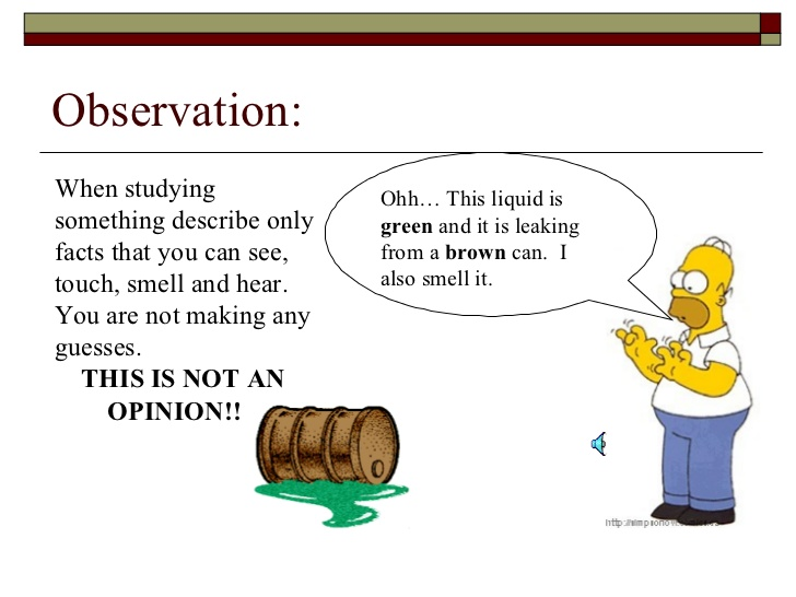 Comic of Homer Simpson making observation, scientific method, science